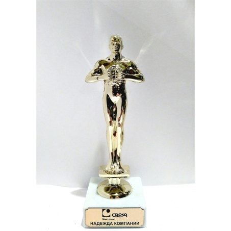 Пример гравировки статуэтка Оскар 150 мм.
